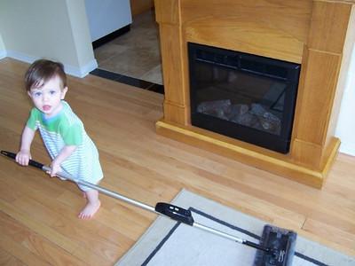 Evan Helps Mom Clean