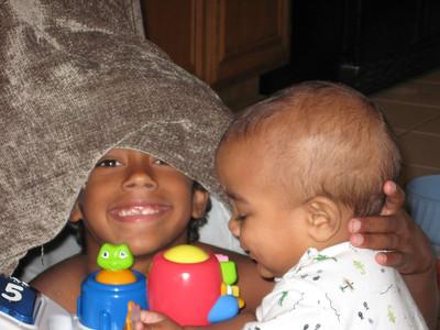 Noah and Isaiah playing.