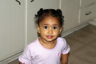 Jaylie in the kid's kitchen.