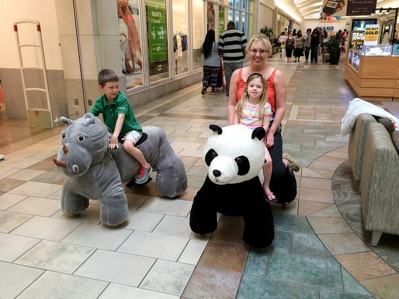 Sean, Morgan and Mimi ready to explore the mall.
