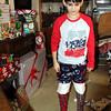 Christmas - trying on the Christmas stockings