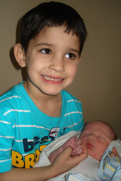 With new baby brother Gavin (approximately 4 hours old)
