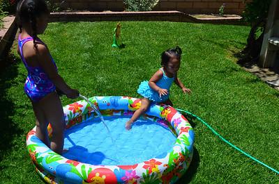 Girls Water Playing Backyard June 2012