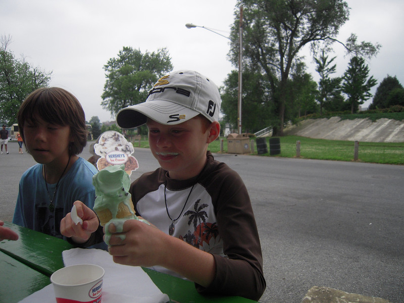 Zachary dripping Ice Cream.  More eating less talking.