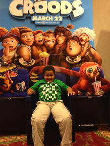 Isaiah after a movie at the theatre.