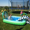Here is Asher's big splash.  Ben and Conner had their own fun and games going on the trampoline.
