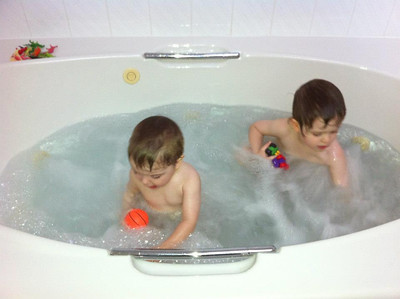 The new house has a big Jacuzzi tub!