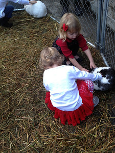 Thalia could be heard instructing the younger kids to be gentle and pet the rabbits softly.
