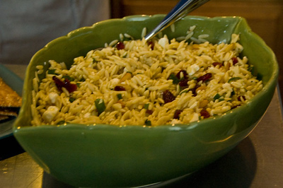 Susannah's tasty orzo with cranberries and pine nuts.  Yum!