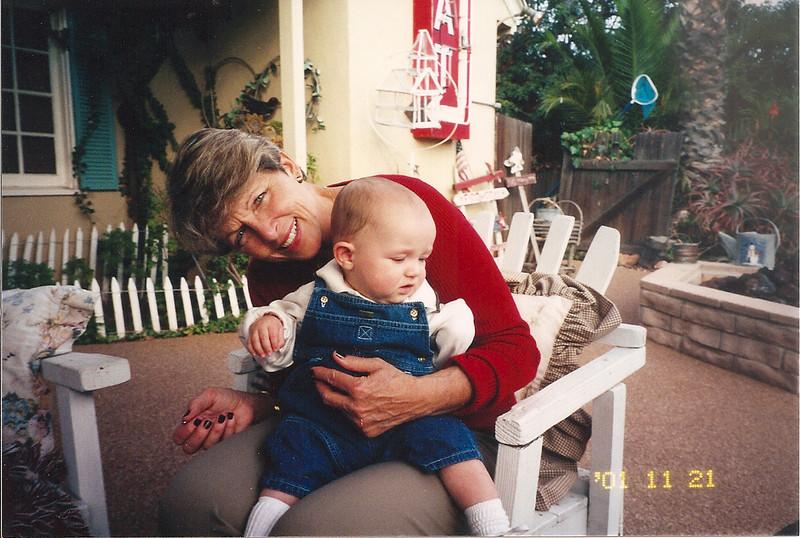 Jeffrey and Nana in Carolyn's backyard in Fullerton<br /> Nov. 21, 2001