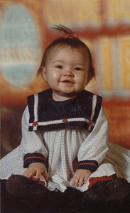 Me in a dress. No, wait a minute.... that's not me, it's my mommy!