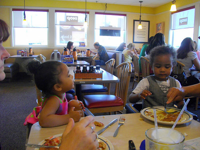 Jaylie and Isaiah having breakfast at IHOP.