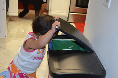 Looking in the trash cans.