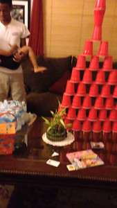 Video of Noah and Jaylie knocking down the cups.
