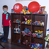 """Leo with his """"cool"""" shelf, featuring Nexo Knights"""
