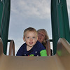 Who's more excited?  1st time down the BIG slide for Wes.
