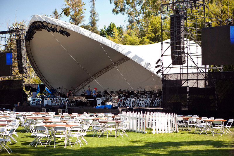 Getting the stage ready for the Pasadena Pops concert.