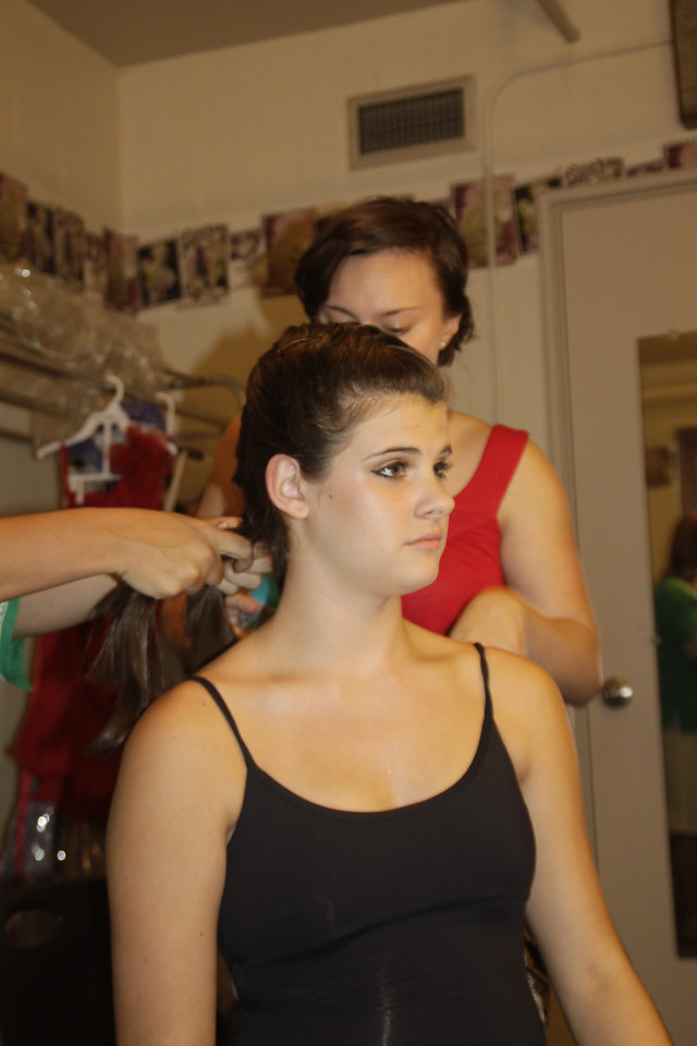 """Getting a little """"touch up"""" before the show"""