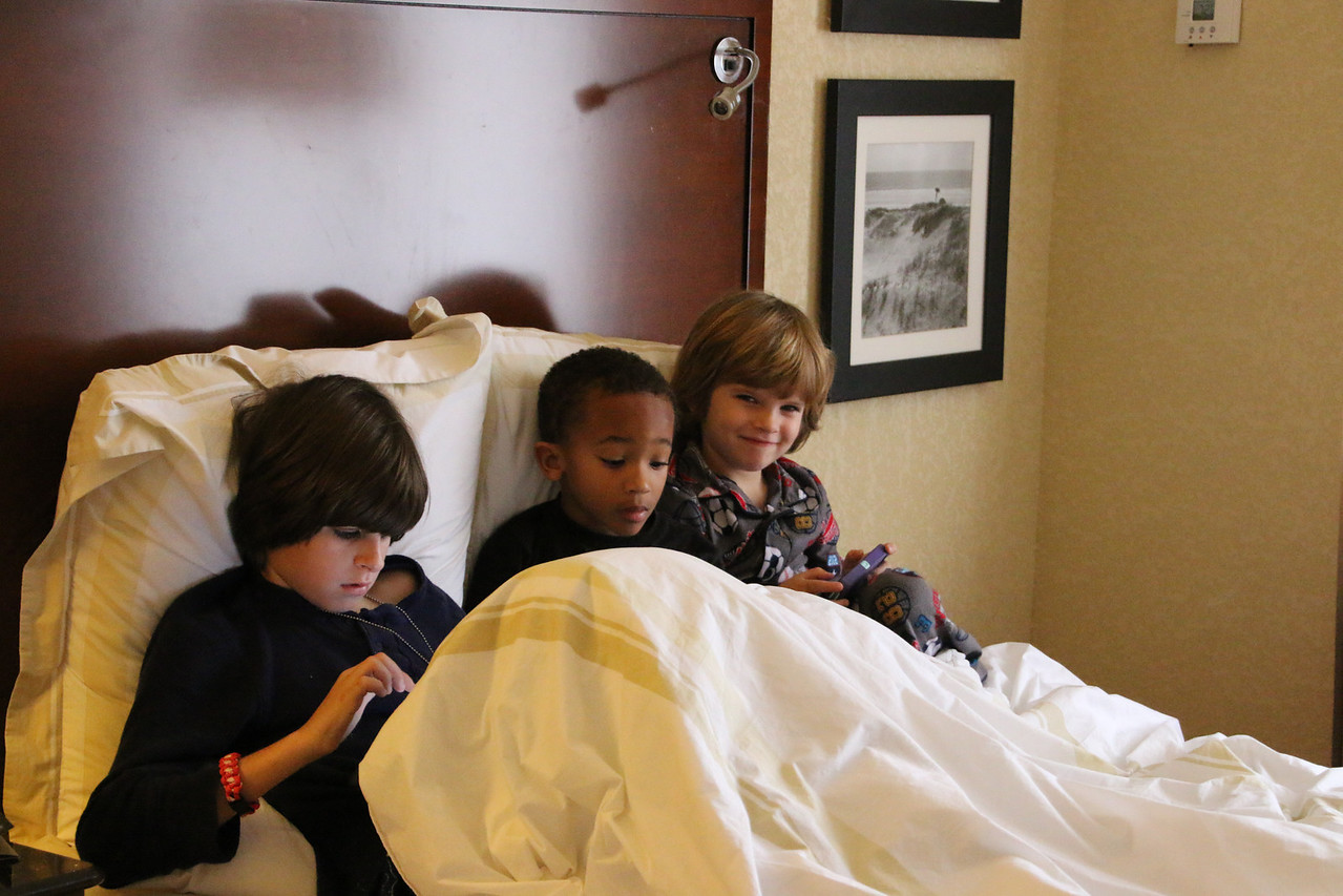 Meanwhile, back in my room - the boys playing on their iPads!