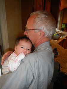 Meeting Grandpa, almost 7 weeks old.