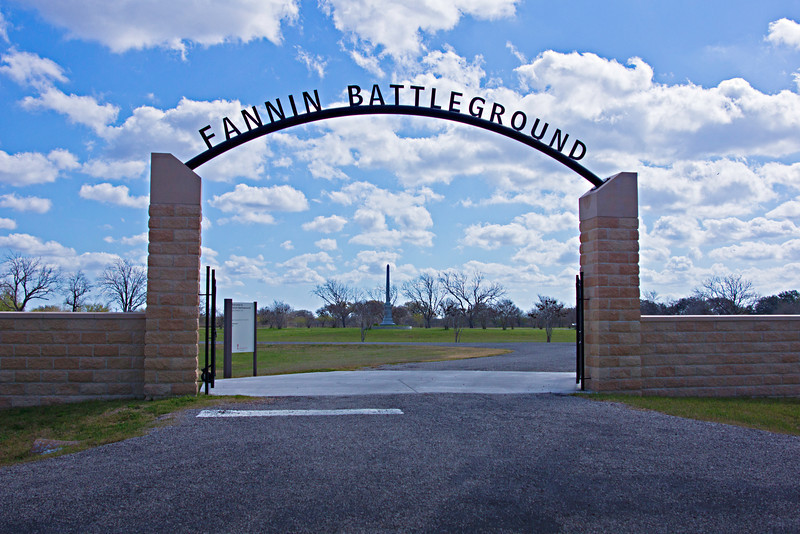 "Entrance to the Fannin Battleflield Memorial Park where Fannin and his men were capture following the Battle of Coleto in Fannin, TX.  <a href=""http://en.wikipedia.org/wiki/Battle_of_Coleto"">http://en.wikipedia.org/wiki/Battle_of_Coleto</a>"