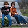 Grandsons Josh and Jacob at the monument in the Fannin Battlefield Memorial in Fannin, TX.