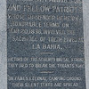 Plaque on the obelisk at the Fannin battlefield memorial in Fannin, TX.