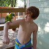 Grandson, Josh, and parrot shot from Brother Bill's iPhone.