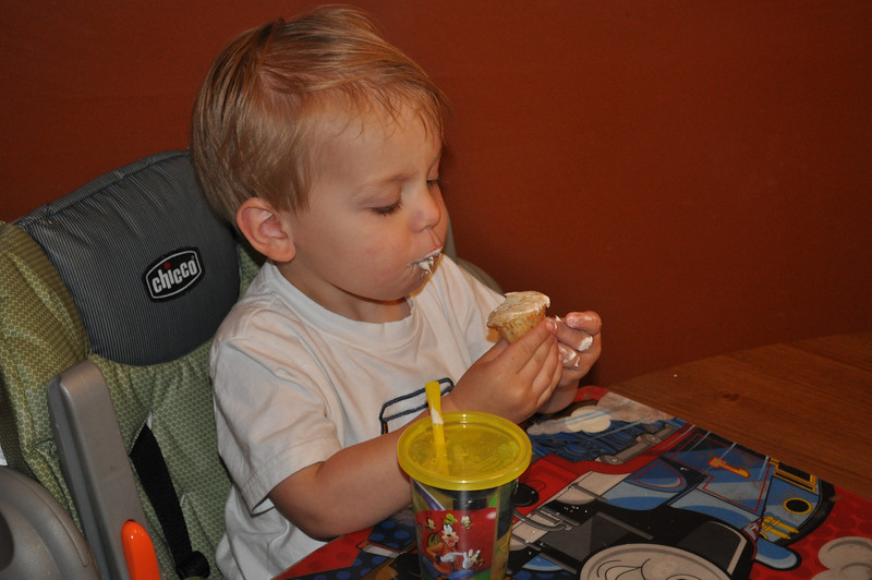 Wesley was the taste tester for his birthday cake and cupcakes