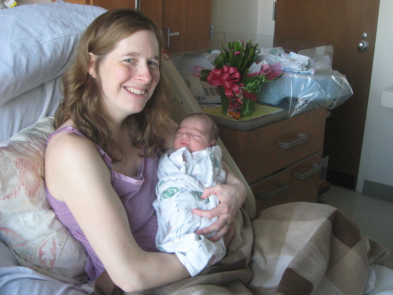 Marie and Baby Nate, less than  24 hours old!