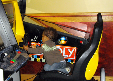 Driving the car at Red Robbin.