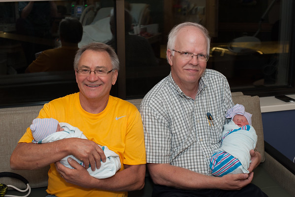 Grandfathers Denny and Mike with the twins