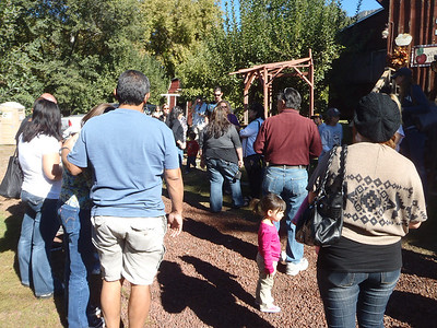 Everybody gathering at Riley's Ranch for the day's activities.