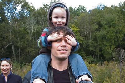 Jackson loving his shoulder ride.
