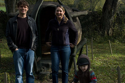 Andrew, Annie and Jackson in front of the 'Dung Beetle House.'