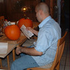 Dad Ivan carved the big pumpkins with some help from Granddaddy when the knife supplied with the carving kit  broke.