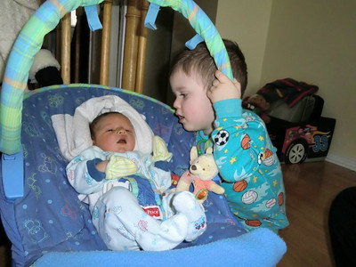 Evan says hi to his baby brother  :)