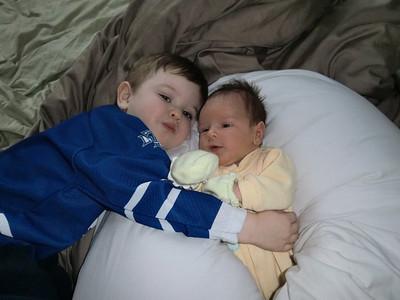 Evan - 2 1/2 yrs & Eli - 2 wks Cuddling brothers...  :)