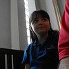 In church before going to her classroom.