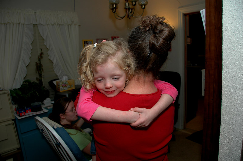 """She's always full of love. We got a special treat -- Annette and Katie spent the night with us. In this photo, Katie had just asked Sandy: """"Will it be OK if I sleep beside you tonight?"""""""