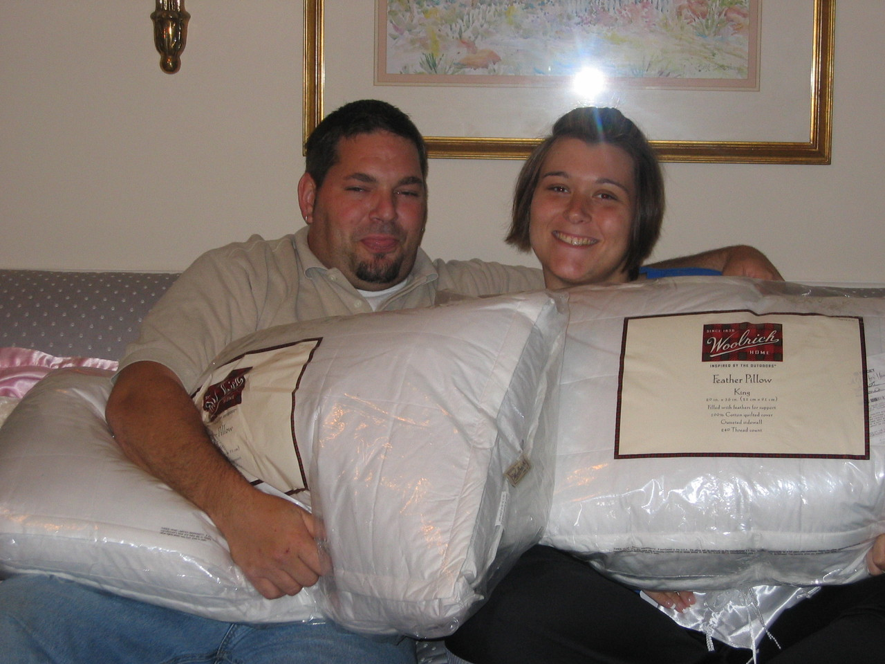 Two large feather pillows from Rhonda.