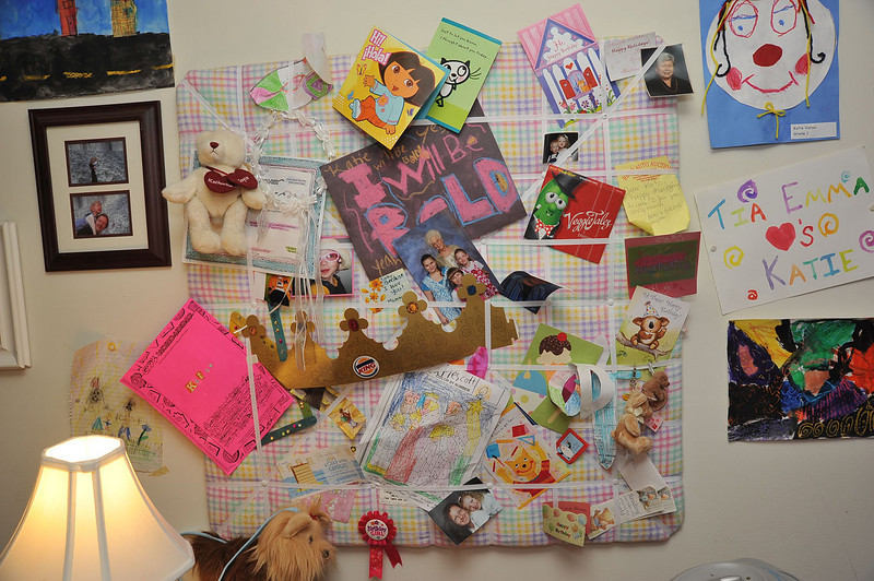 On her wall is also displayed a photo memory board, which I made for her and presented to her on her 4th birthday.