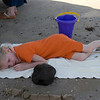 After a long search for sea shells in the hot sun, Katie was ready for a little nap.