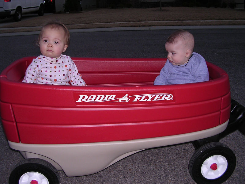 Tyler and Morgan in wagon 1