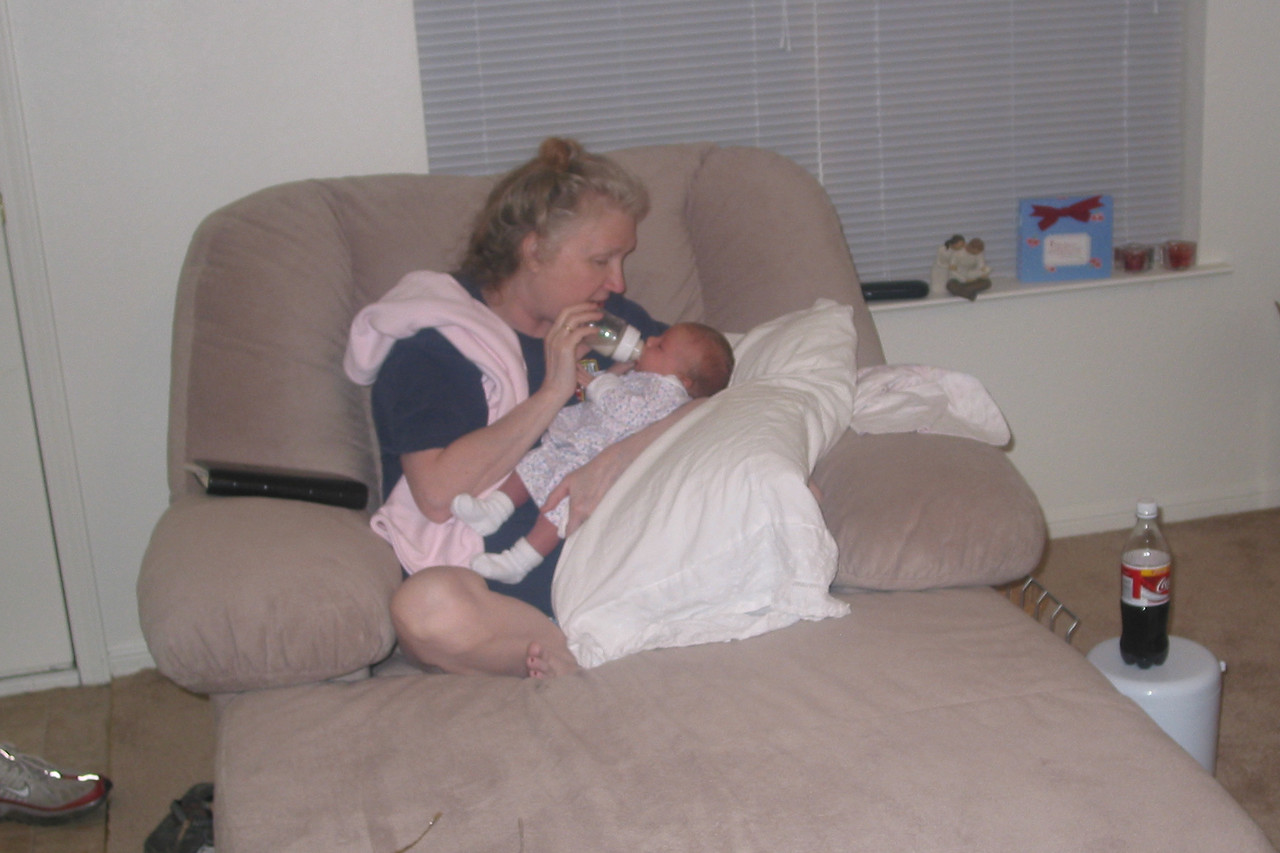 Adoring grandmother, drinking in Zoey while Z. drinks in lunch.