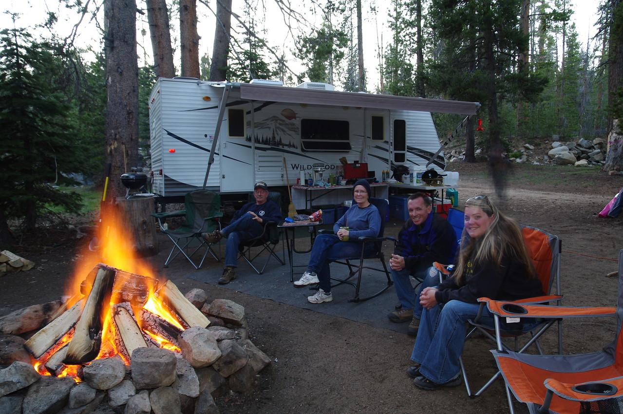 Dad, Mom, David, & Amy enjoy the campfire