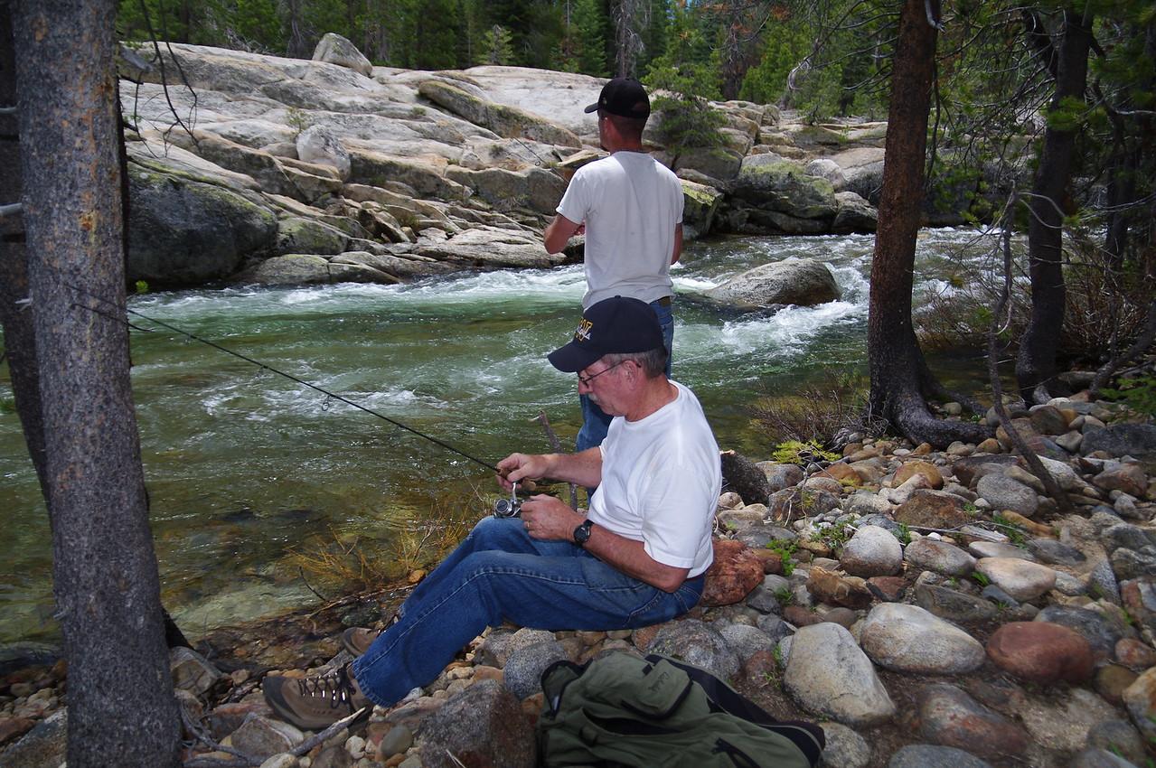 Jason fishes, Dad prepares to fish