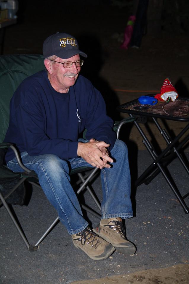Dad laughs at something