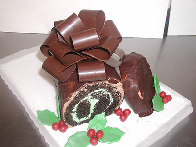 Yule Log with Chocolate Bow