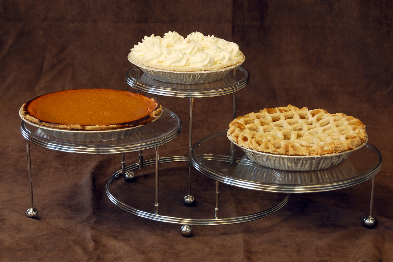 Pies (left to right: pumpkin, banana cream, apple (lattice top))